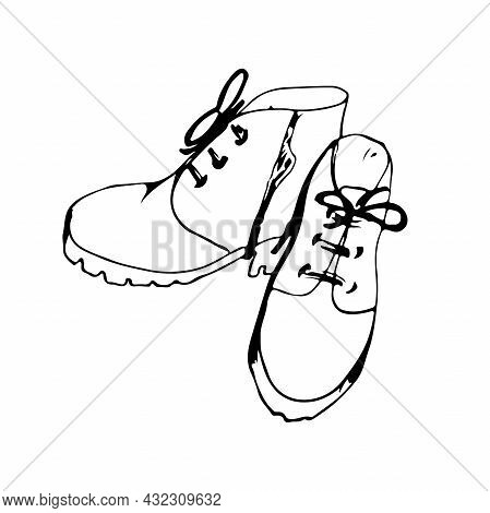 Women's Autumn Spring Boots On The Platform, In Front With Ties And Side Closure Isolated On White B