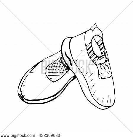 Women's Sports Sneakers With Mesh Isolated On White Background. Black And White Vector Illustration