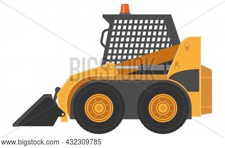 Vector Illustration Of Skid Loader Or Compact Excavator