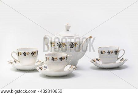 Luxury Vintage Porcelain Coffe Or Tea Set - Tableware On White Background