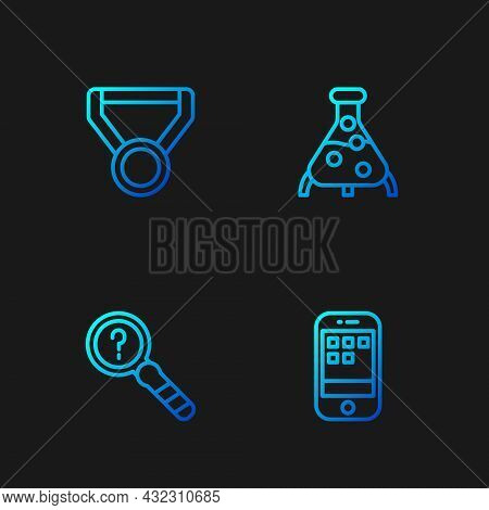 Set Line Smartphone, Unknown Search, Medal And Test Tube And Flask. Gradient Color Icons. Vector