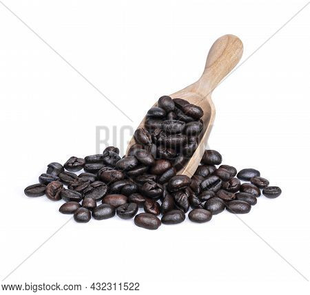 Coffee Beans On Wooden Scoop Isolated On White Background. Aromatherapy By Coffee