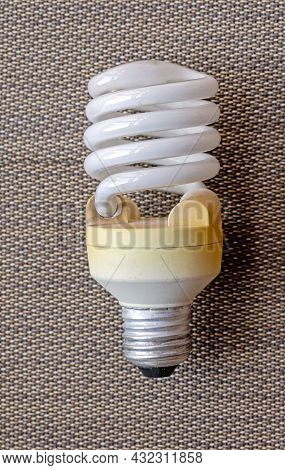 Old Used Cfl Compact Fluorescent Lightbulb Energy Saving