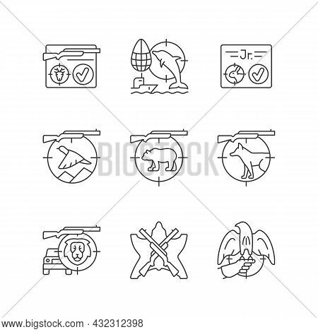Wild Animals Hunting Linear Icons Set. Big And Small Game Hunting. Shooting With Rifle And Gun. Cust