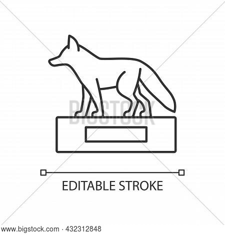 Taxidermy Linear Icon. Preserving And Stuffing Wild Dead Animals. Animal Body Display. Thin Line Cus