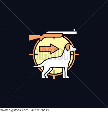 Dog Handler Rgb Color Icon For Dark Theme. Hunting With Canine. Trained Hunting Dog. Hunt Companion.