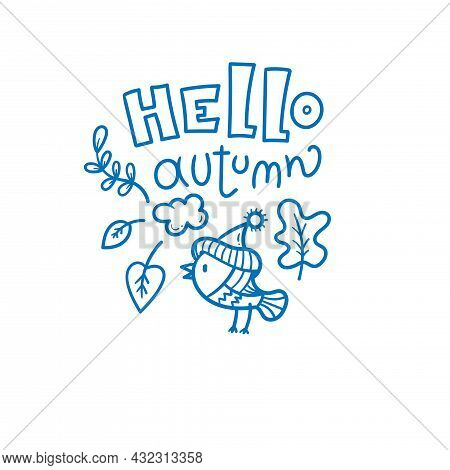 Autumn Card With Cute Cartoon Bird. Animal In Hat With Leaves. Illustration For Children. Vector Out