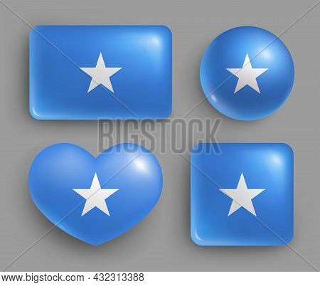 Set Of Glossy Buttons With Somalia Country Flag. Eastern African Republic National Flag, Shiny Geome