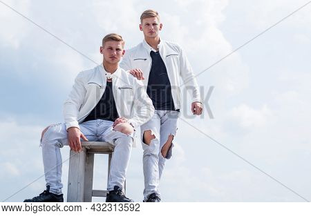 Twins Brother In White. Male Beauty And Fashion. Similar Appearance. Family Relations