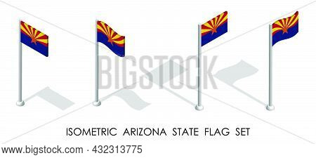 Isometric Flag Of American State Of Arizona In Static Position And In Motion On Flagpole. 3d Vector