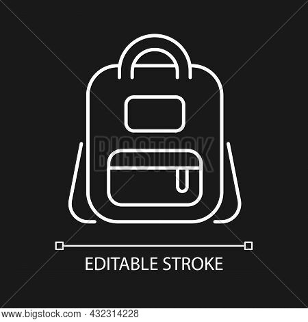 Schoolbag White Linear Icon For Dark Theme. Bag For Carrying Books And Stationery Items. Thin Line C