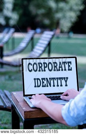 Text Caption Presenting Corporate Identity. Word Written On Firm Or Business Presents Themselves To