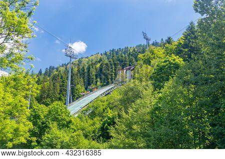 Szczyrk, Poland - June 6, 2021: Detail Of Beskid Olympians Skalite Ski Jumping Hill.
