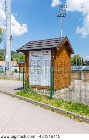 Szczyrk, Poland - June 6, 2021: Part Of Skalite Ski Jump Complex Named After The Beskid Olympians.