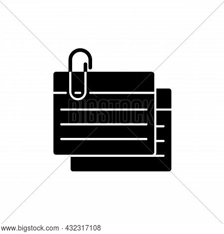 Index Card Black Glyph Icon. Small Piece For Recording Information. Flashcards For Studying. Summary