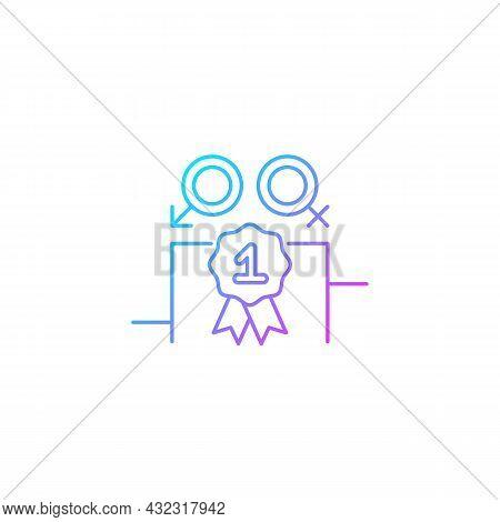 Gender Equality Gradient Linear Vector Icon. Enjoy Equal Rewards. Gender Parity. Gender-balanced Par