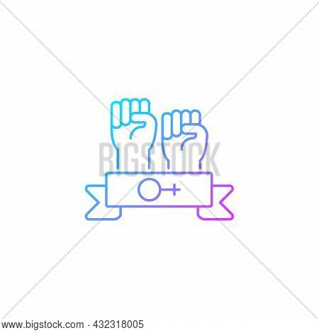 Women Community Gradient Linear Vector Icon. Support Equal Rights For Women. Feminist Solidarity. Fi
