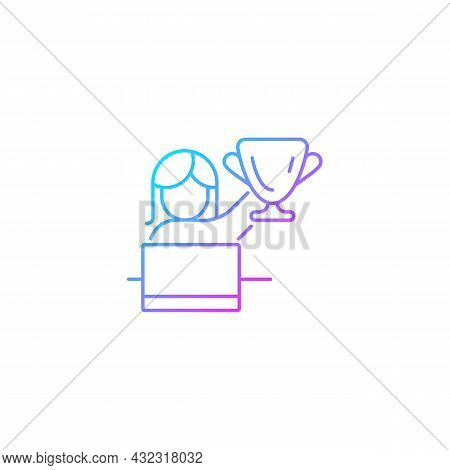 Woman In Leadership Role Gradient Linear Vector Icon. Attracting Female Talent. Women Empowerment At