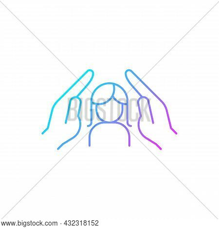 Women Protection Gradient Linear Vector Icon. Protect Girls Against Violence. Female Empowerment. Wo
