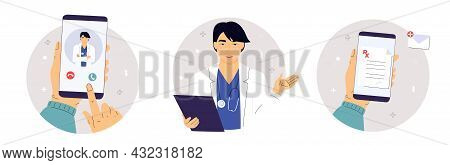 The Patient Makes A Video Call To The Asian Doctor On The Smartphone. Medical Worker With A Stethosc