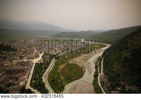 Panoramic Aerial View To Berat Old Town And Osum River From Berat Castle In Albania