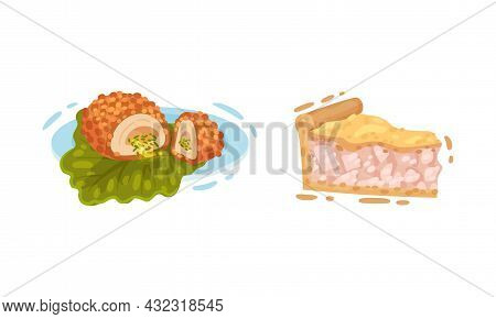 Cooked Chicken Dish With Fried Slab On Green Leaf And Pie Vector Set