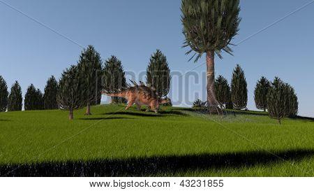 kentrosaurus in green grass field