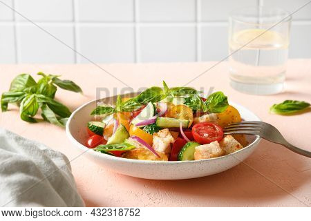 Tuscan Panzanella With Tomatoes And Bread, Italian Cuisine.