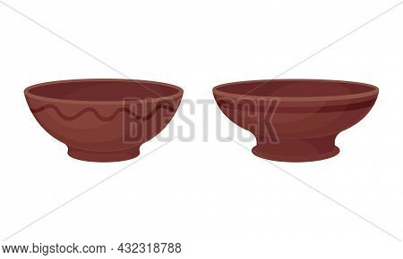 Clay Kitchenware And Ceramic Vessel With Deep Bowl Vector Set