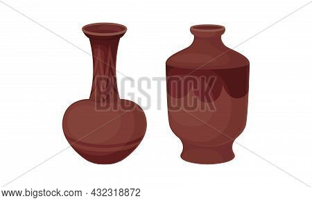 Clay Kitchenware And Ceramic Vessel With Tall Vase With Narrow Neck Vector Set