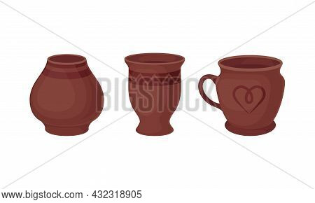 Clay Kitchenware And Ceramic Vessel With Pot And Mug Vector Set