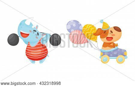 Circus Hippo And Dog Animal Lifting Barbell And Driving Toy Car Performing Trick Vector Set