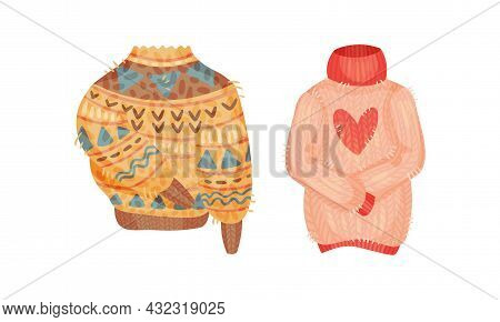 Warm Knitted Sweater Wear As Hygge And Coziness And Comfortable Symbol Vector Set