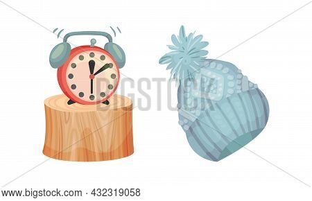 Warm Knitted Hat Wear And Alarm Clock As Hygge And Coziness And Comfortable Symbol Vector Set