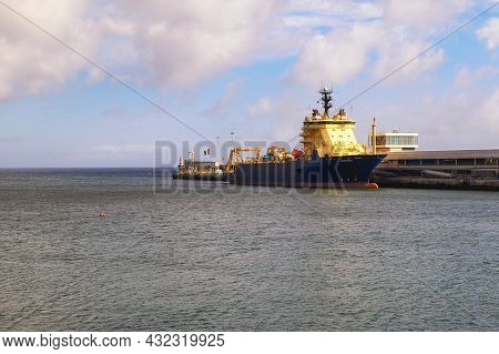 Funchal, Madeira, Portugal - January 21, 2021 : The Vessel Ile De Sein In The Harbor Of Funchal. Thi