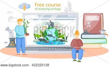 Free Course Of Studying Ecology Banner. Ecologist Scientist Taking Care Of Nature And Study Ecologic