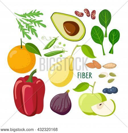 Food Macronutrients. Rich In Fiber Food Set. High Fiber Food For Healthy Nutrition And Diet Isolated