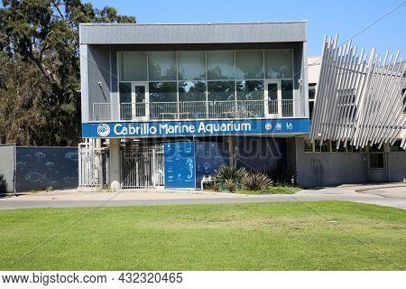 August 27, 2021 San Diego, California: Cabrillo Marine Aquarium. Entrance to the Marine Aquarium in San Diego, California.