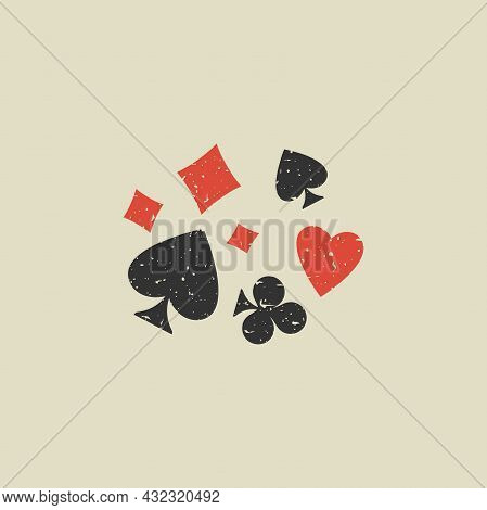 Poker Playing Cards Suits Grunge Symbols - Spades, Hearts, Diamonds And Clubs. Scratched Playing Car