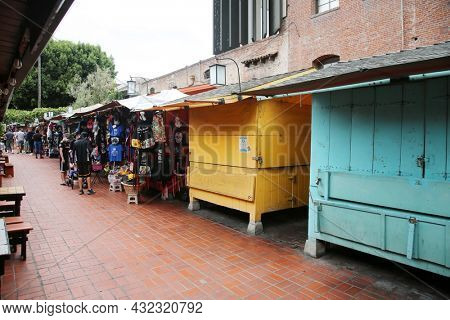 August 27, 2021 Los Angeles California: People visit Olvera Street market in Los Angeles. Olvera Street is the oldest part of downtown LA. It is California State Historic Landmark since 1953.