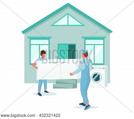 Two Movers Carrying Refrigerator To House, Vector Illustration. Relocation. Moving Company Service.