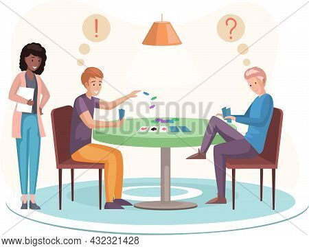 Happy Family Brothers Or Friends Sitting At Table And Playing Strategy Logical Board Card Game, Spen