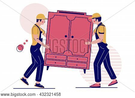 Two Movers Carrying Closet, Vector Illustration. Relocation. Moving Company Service. Furniture Deliv