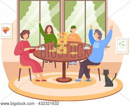 Friends Playing Block Tower Home Together. People With Board Game Indoor. Character Is Playing With