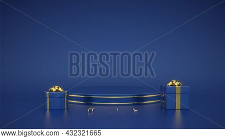 Blue Round Podium. Scene And 3d Platform With Gold Circle On Blue Background. Blank Pedestal With Gi