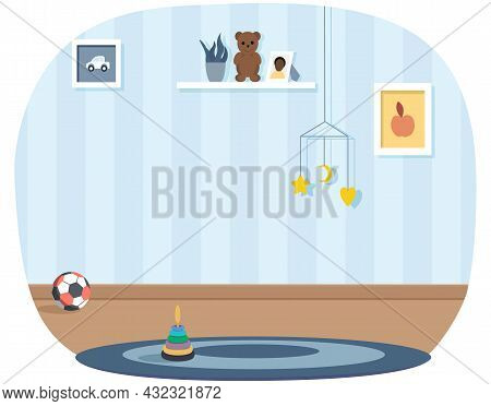 Stylish Interior Of Children S Room. Blue Wall, Shelf With Toys And Ball In Baby Room. Interior Desi