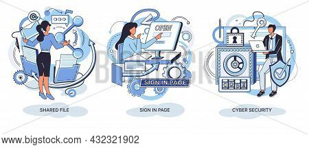 High Technology Concept Metaphors. Header For Website. Shared File, Sign In Page, Cyber Sequrity. In