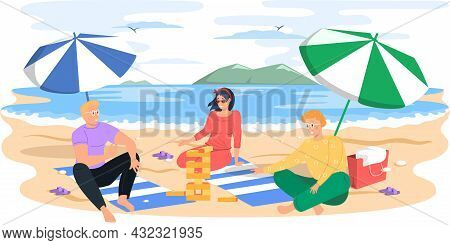 People Relaxing On Sun Under Beach Umbrella With Board Game On Vacation, Sunbathing And Playing Jeng