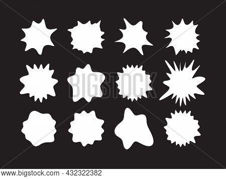 White Paint Spots, Milk Blots, Blank Promo Background, Sticker Shape, Comic Art Graphic Explosion, L