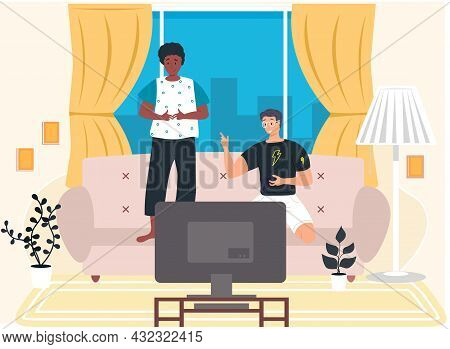 Two Boys Playing Computer Video Games Sitting On Couch With Gamepad Relaxing At Home, Young People H